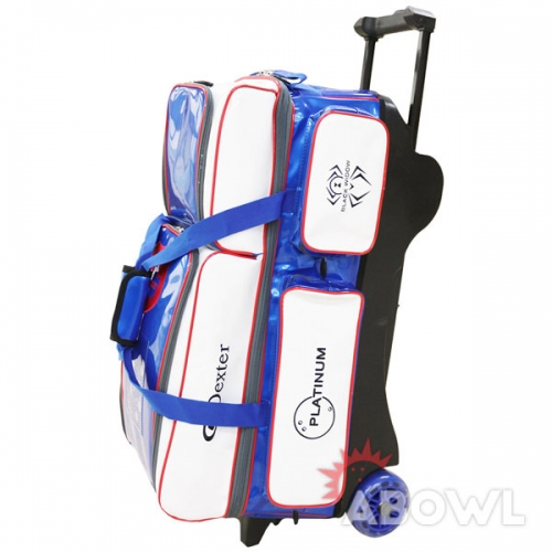 MK 에나멜 3볼롤러백(화이트/블루)